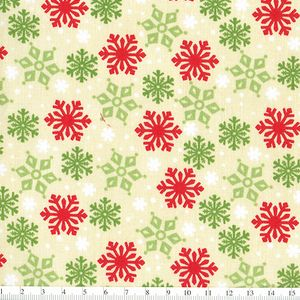 *Wilmington prints* Debbie Mumm Peppermint Santa Snow Flakes