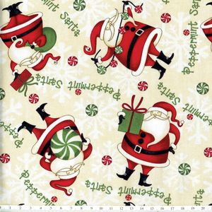 *Wilmington prints* Debbie Mumm Peppermint SantaA 45×54